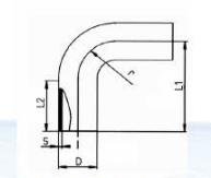 PVDF 对焊管件 加长型90度大弯头