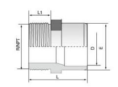PVDF 对焊管件 外螺纹管接头 右旋螺纹/NPT螺纹